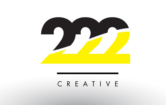 222 Black and Yellow Number Logo Design.