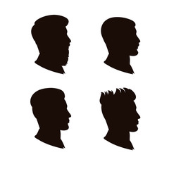 Vector set of a man's silhouette.Silhouette of a man in a profile with different types of haircuts