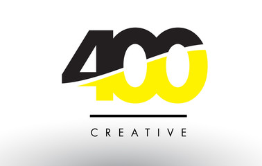 400 Black and Yellow Number Logo Design. Fototapete