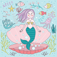 Cute Hand Drawn Mermaid Born Underwater Sea Calm Shell Vector Illustration