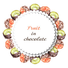 Oranges and kiwi fruit in chocolate. Frame on a white background.