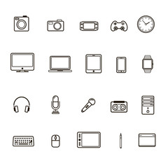 Set of multimedia icon black color and line style isolated on white background. Vector Illustration