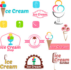 Ice cream logo for company or shop