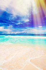 Photo of a tropical beach on the sunny day