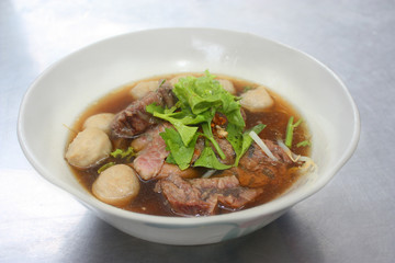 A bowl of stewed beef soup.