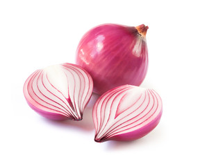 Red onion slice on white background, raw material for cooking