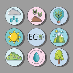 set ecology conservation and environment care concept
