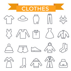 Clothes icons, thin line, flat design