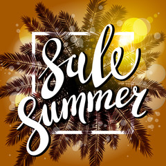 Sunset on the beach Summer sale background with palm. Vector