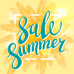 Summer Sale banner for business, promotion and advertising. Vector illustration. Sun on the beach yellow background with palm.