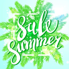 Sunset on the beach Summer sale background with green palm. Vector banner