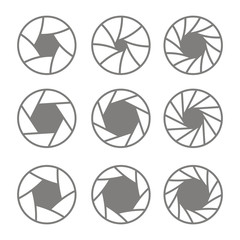 set of monochrome icons with camera shutter symbols for your design