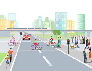 Straße mit Straßenkreuzung in der Stadt, Illustration