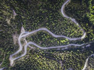 Italy, Alto Adige, Dolomites, Mountain street near Malga Ra Stua, aerial view