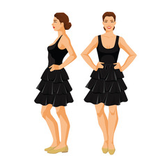 Vector illustration of woman in black skirt, top and shoes on flat heel with short sleeves on white background. Various turns woman's figure. Front view and side view.