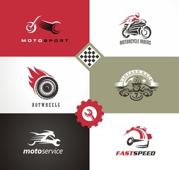 Motorbikes vector symbols and emblems. Motorcycle logo designs collection.