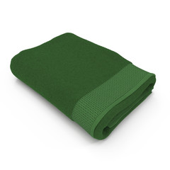 Folded green bath towel isolated on white. 3D illustration, clipping path