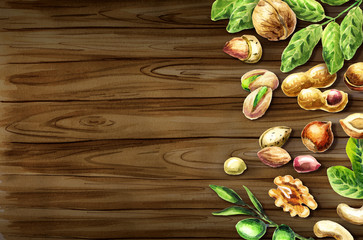 Nuts mix top view on the border. Natural organic food. Watercolor hand-drawn  background