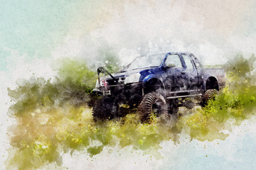 4x4 offroad car racing with Aquarelle water paint effect