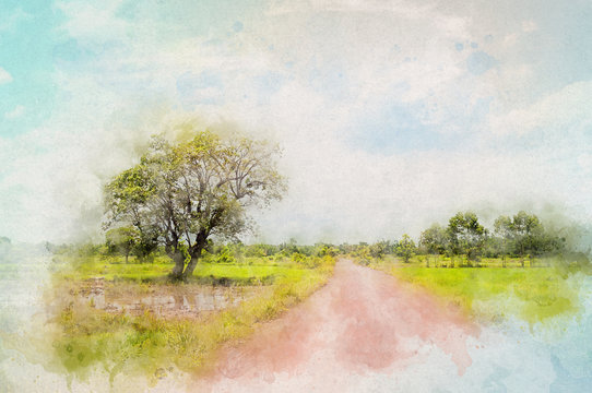 Countryside ground road with tree in Waterpaint style drawing