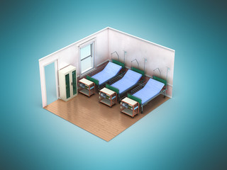 Isometric medical room three bed 3d render not blue background