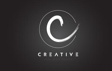 C Brush Letter Logo Design. Artistic Handwritten Letters Logo Concept.