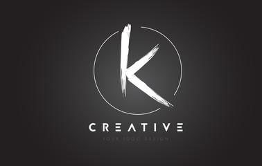 K Brush Letter Logo Design. Artistic Handwritten Letters Logo Concept.