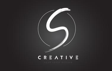 S Brush Letter Logo Design. Artistic Handwritten Letters Logo Concept.