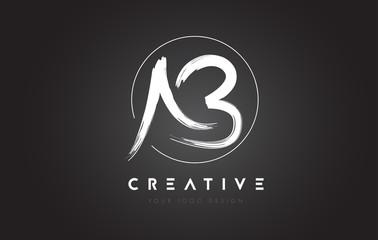 AB Brush Letter Logo Design. Artistic Handwritten Letters Logo Concept.