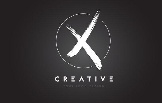 X Brush Letter Logo Design. Artistic Handwritten Letters Logo Concept.