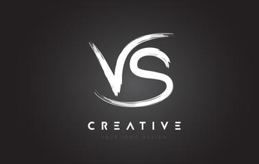 VS Brush Letter Logo Design. Artistic Handwritten Letters Logo Concept.