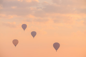 Hot Air Balloon with Dramatic Sky in Morning