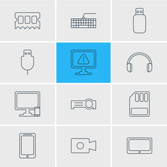 Vector Illustration Of 12 Laptop Icons. Editable Pack Of Phone Near Computer, Serial Bus, Movie Cam And Other Elements.