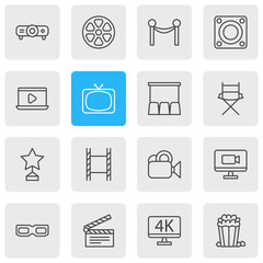 Vector Illustration Of 16 Cinema Icons. Editable Pack Of Spectacles, Movie Reel, Snack And Other Elements.
