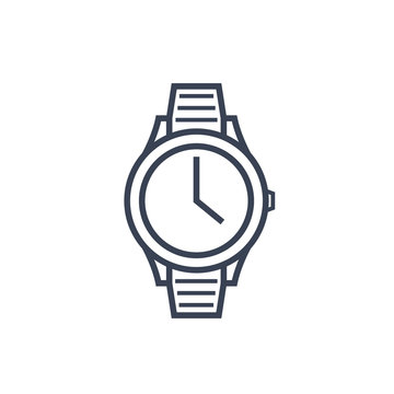 watch line icon on white