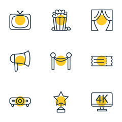 Vector Illustration Of 9 Cinema Icons. Editable Pack Of Snack, Tv, Theater And Other Elements.