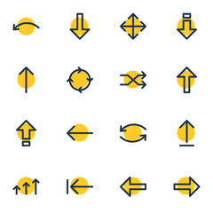 Vector Illustration Of 16 Sign Icons. Editable Pack Of Left, Direction, Up And Other Elements.
