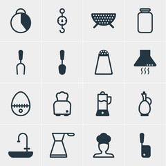Vector Illustration Of 16 Cooking Icons. Editable Pack Of Barbecue Tool, Extractor Appliance, Bread And Other Elements.
