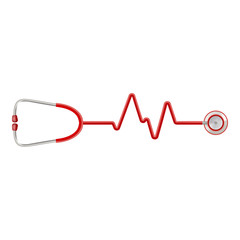 Stethoscope In The Shape Of A Heart Beat On A Ekg Isolated On A White Background. Realistic Vector Illustration.