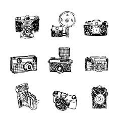 Camera icons. Vintage retro camera icon characters.