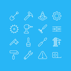 Vector Illustration Of 16 Industry Icons. Editable Pack Of Hatchet, Lifting, Paintbrush And Other Elements.