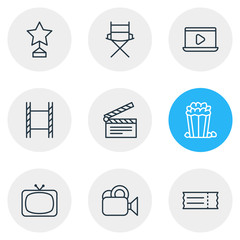 Vector Illustration Of 9 Cinema Icons. Editable Pack Of Reward, Snack, Shooting Seat And Other Elements.