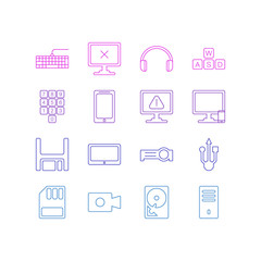 Vector Illustration Of 16 Notebook Icons. Editable Pack Of Phone Near Computer, Warning, Access Denied And Other Elements.
