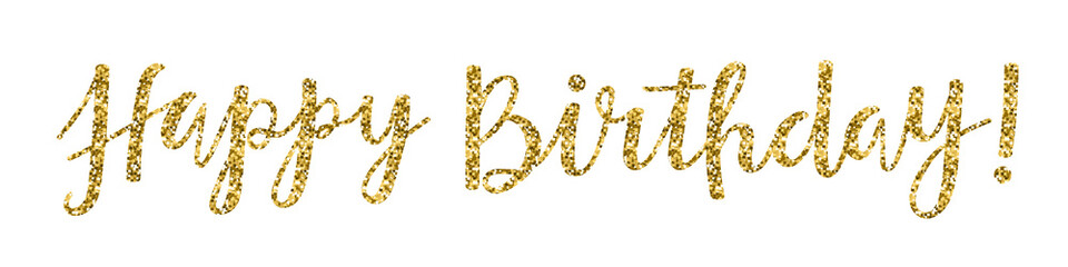 """HAPPY BIRTHDAY"" Hand Lettering Banner in Gold Glitter"