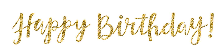 """HAPPY BIRTHDAY"" Hand Lettering Banner in Gold Glitter"