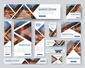 Banner templates of standard size with triangular elements