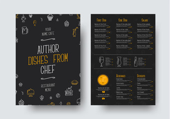 Design A4 size of a black menu for a restaurant or cafe