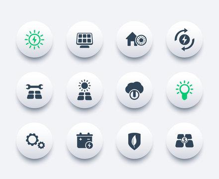 Solar energy icons set, alternative energetics, sun powered house