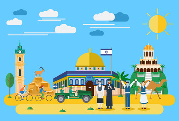 Illustration of Israel landmark and icons, Vector
