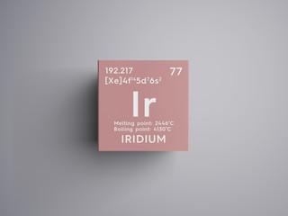 Iridium. Transition metals. Chemical Element of Mendeleev's Periodic Table. Iridium in square cube creative concept.